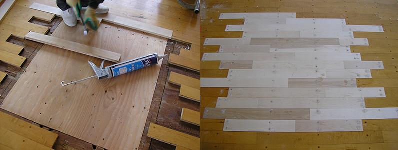既存バレーボール床金具基礎撤去更新後、フローリング貼り施工