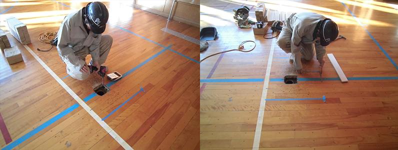 体育館バレーボール用床金具廻りのフローリング解体及び切り込み加工
