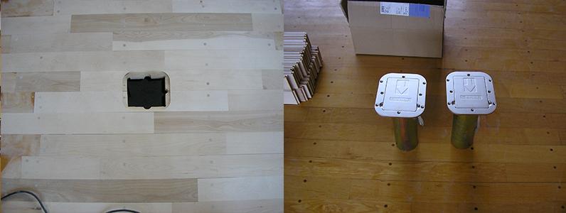 バレーボール用床金具基礎改修工事、フローリング穴あけ加工