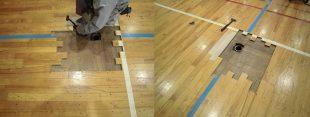 体育館床金具交換場所フローリング貼り替え
