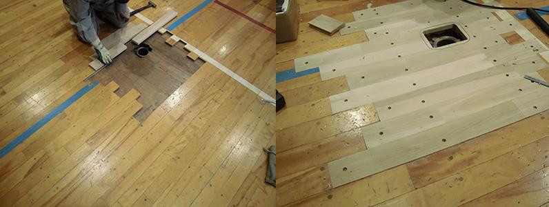 体育館バレーボール用床金具廻りフローリング貼り完成