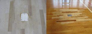 バレーボール用床金具基礎改修工事、スポーツフロア仕上げ
