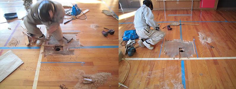 体育館バレーボール用床金具廻りフローリング解体解体作業完了