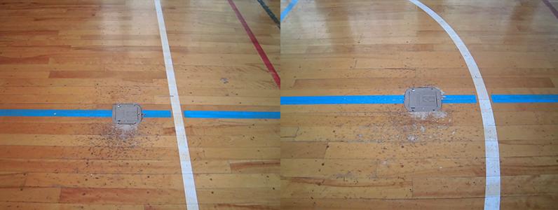 体育館バレーボール用床金具劣化による天蓋交換及び支柱位置改善施工前