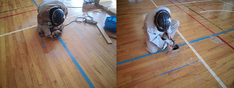 体育館バレーボール用床金具天蓋交換のためのフローリング撤去