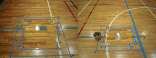 体育館床金具上蓋交換工事塗装状況