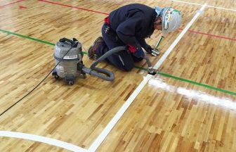 体育館バレーボール用床金具新規設置工事