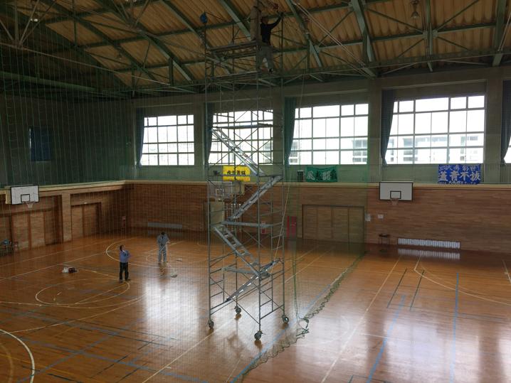 直江津中学校-防球ネット操作ロープ交換