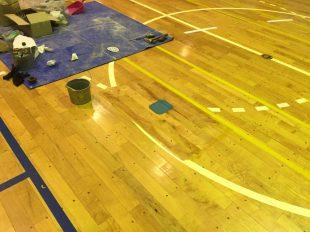 体育館バレー用床金具交換後ライン塗装前