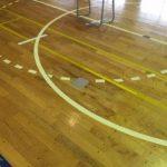 体育館バレー用床金具交換施工完了