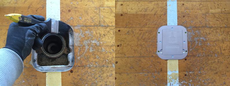 施工中の様子と施工後の床金具
