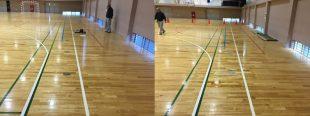 低鉄棒用の床金具を設置施工前と後