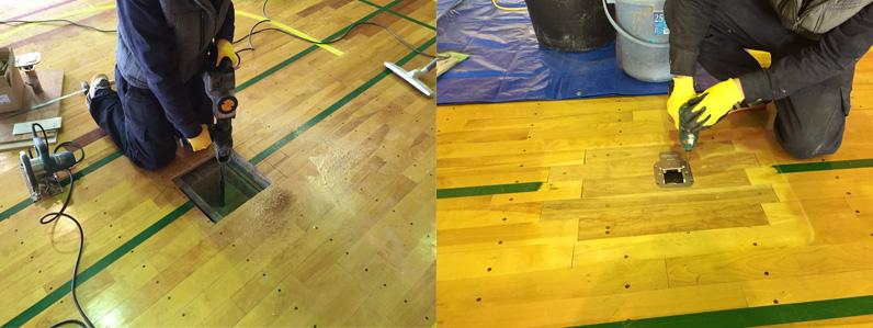 床金具施工中の様子