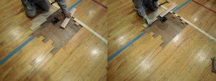 床金具廻り既存スポーツフロア撤去完了後新規フローリング貼り