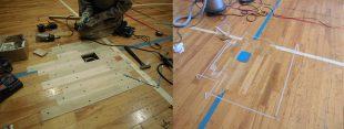 床金具廻り既存スポーツフロア撤去完了後新規フローリング貼り完了床金具彫り込み