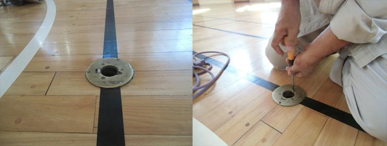 体育館バドミントン床金具、フローリング張替え及びセノー金具埋め込み工事前