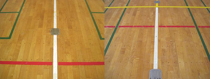 体育館バレーボール用支柱金具、既存床へ1面新設施工前