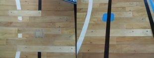 体育館バドミントン床金具新規設置施工完了